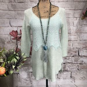 Free People Mint Wool Blend Sexy Tunic Sweater